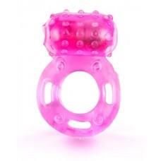 Розовое гелевое эрекционное кольцо с вибропулей (цвет -розовый) (154265)