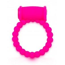 Розовое малоэластичное эрекционное кольцо с вибрацией (цвет -розовый) (154505)