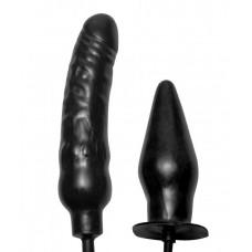 Пробка и фаллос с функцией расширения Deuce Double Penetration Inflatable Dildo and Anal Plug (цвет -черный) (182689)